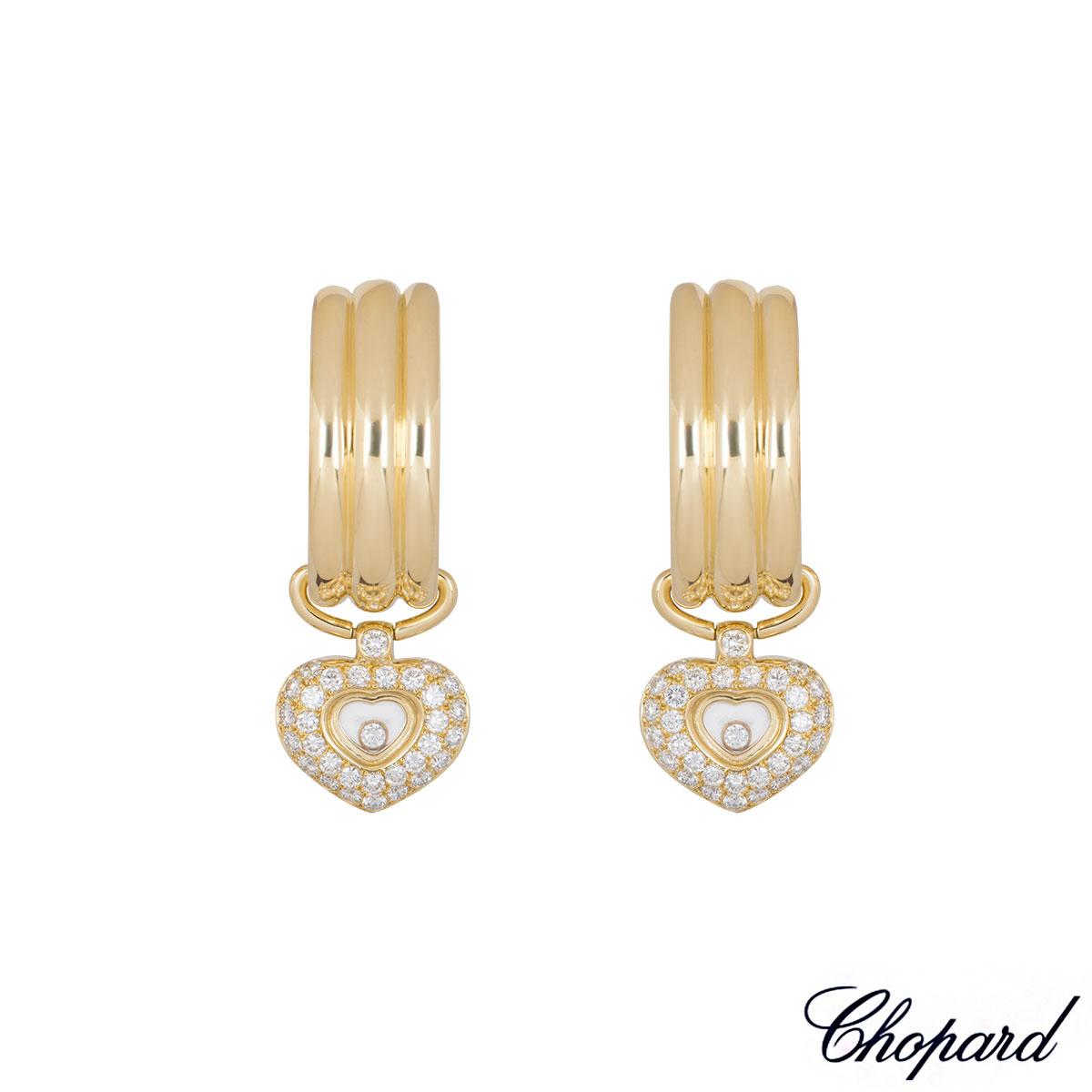Chopard Yellow Gold Happy Diamonds Heart Hoop Earrings